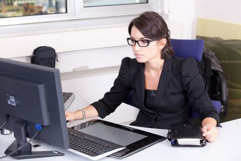 female accountant while working
